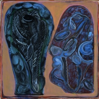 Anne-Marie Pécheur Artiste Peinture et Lumière Deux Visages en Fleurs 518-2002